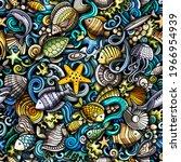 cartoon doodles sea life... | Shutterstock .eps vector #1966954939
