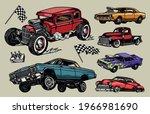 Custom Cars Colorful Vintage...