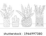 lovely growing houseplants in... | Shutterstock .eps vector #1966997380