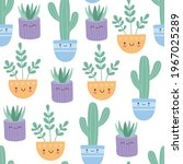 kawaii succulents cactus with...   Shutterstock .eps vector #1967025289
