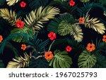 dark tropical seamless pattern... | Shutterstock .eps vector #1967025793
