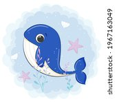 cute whale swimming in the sea. ...   Shutterstock .eps vector #1967163049