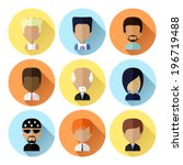colorful male avatars circle... | Shutterstock .eps vector #196719488