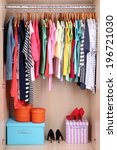 colorful clothes hanging in... | Shutterstock . vector #196721030