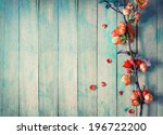 Stock photo spring blossom over wood background spring flowers on wooden background 196722200