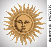 drawing the sun stylized... | Shutterstock .eps vector #196727930