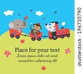 cartoon train with animals | Shutterstock .eps vector #196735790