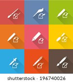 writing tools icons 2 | Shutterstock .eps vector #196740026
