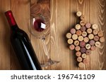 red wine bottle  glass and... | Shutterstock . vector #196741109