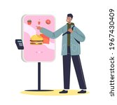 man using self ordering service ...   Shutterstock .eps vector #1967430409