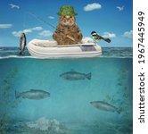 A Beige Cat Fisherman In An...