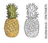isolated pineapples.  graphic... | Shutterstock .eps vector #196744874