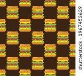 hamburger pattern pixel art.... | Shutterstock .eps vector #1967453629