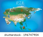 cute illustrated map of asia...