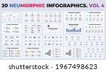 neumorphic infographics. vector ...