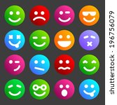 flat and round smiley icons for ...