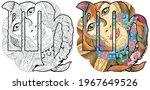 virgo zodiac sign with mandala... | Shutterstock .eps vector #1967649526