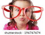 Funny Little Girl With Big Red...