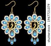 illustration of gold earrings... | Shutterstock .eps vector #1967721379