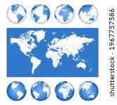 blue globes vector set planet... | Shutterstock .eps vector #1967757586