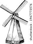Windmill. Hand Drawn Vector...
