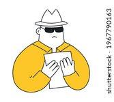 secret agent in hat searching... | Shutterstock .eps vector #1967790163