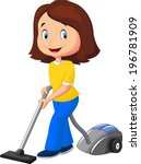 mom with vacuum cleaner | Shutterstock .eps vector #196781909