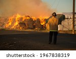 Burning Hay Stacks 1 Ton Bales...