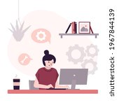 sad business woman repairing...   Shutterstock .eps vector #1967844139