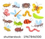 cartoon insects. fly bug  cute... | Shutterstock . vector #1967846500