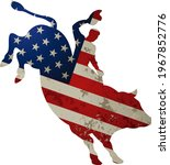 man riding bucking bronco in... | Shutterstock . vector #1967852776