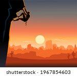 climbing on steep rock wall  | Shutterstock . vector #1967854603