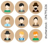 set of flat circle icons with... | Shutterstock .eps vector #196791326