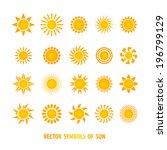 vector set of sun symbols.  | Shutterstock .eps vector #196799129
