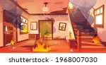old abandoned house on fire....   Shutterstock .eps vector #1968007030