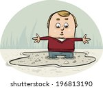 a cartoon man sinking in a... | Shutterstock .eps vector #196813190