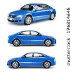 3d blue sedan car | Shutterstock . vector #196814648