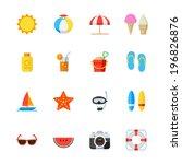 Summer And Beach Icons   Flat...