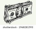 stack of dollar bills in... | Shutterstock .eps vector #1968281593