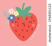 cute carton strawberry  vector...   Shutterstock .eps vector #1968301123