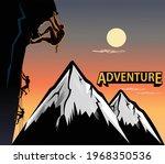 climbing on steep rock wall  | Shutterstock .eps vector #1968350536