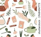 gardening seamless pattern.... | Shutterstock .eps vector #1968404773