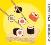 vector illustration  sushi... | Shutterstock .eps vector #1968466396