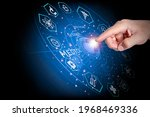 the man's hand pointed to press ...   Shutterstock . vector #1968469336