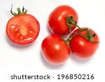 bunch of fresh tomatoes with... | Shutterstock . vector #196850216