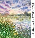 Watercolor Sea. Ducks Swim In...