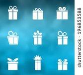 gift box white icons set on... | Shutterstock .eps vector #196853588