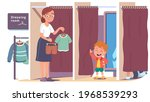 boy kid trying on clothes in... | Shutterstock .eps vector #1968539293
