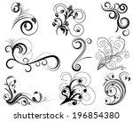 set of swirl floral design...