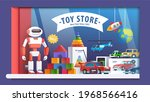 Robot, cars, pyramid, helicopter, rocket, blocks in boy toy store window. Colourful storefront display decoration. Childhood, children goods sale shop market. Flat vector isolated illustration